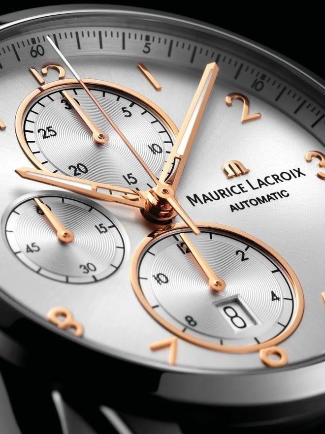Herrenuhr Maurice Lacroix Pontos Chronograph 43mm mit silberfarbenem Zifferblatt und Kalbsleder-Armband bei Brogle