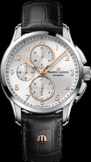 Herrenuhr Maurice Lacroix Pontos Chronograph 43mm mit silberfarbenem Zifferblatt und Kalbsleder-Armband