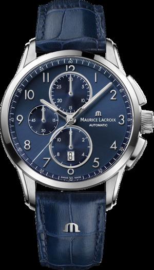 Herrenuhr Maurice Lacroix Pontos Chronograph 43mm mit blauem Zifferblatt und Armband aus Kalbsleder mit Krokodilprägung