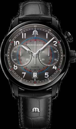 Herrenuhr Maurice Lacroix Pontos Chronograph Monopusher 41mm, Limitierte Edition mit schwarzem Zifferblatt und Kalbsleder-Armband