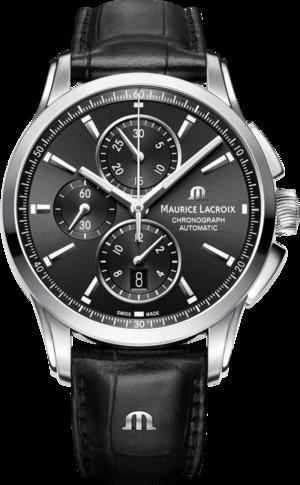 Herrenuhr Maurice Lacroix Pontos Chronograph mit schwarzem Zifferblatt und Armband aus Kalbsleder mit Krokodilprägung