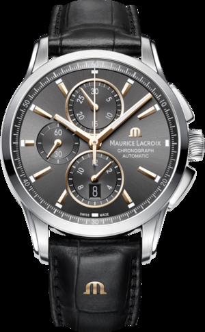 Herrenuhr Maurice Lacroix Pontos Chronograph mit anthrazitfarbenem Zifferblatt und Armband aus Kalbsleder mit Krokodilprägung