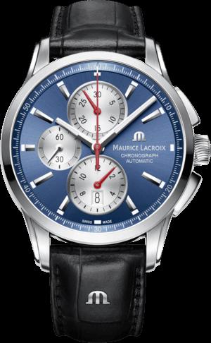 Herrenuhr Maurice Lacroix Pontos Chronograph mit blauem Zifferblatt und Armband aus Kalbsleder mit Krokodilprägung