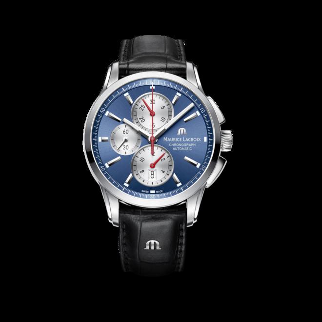 Herrenuhr Maurice Lacroix Pontos Chronograph mit blauem Zifferblatt und Armband aus Kalbsleder mit Krokodilprägung bei Brogle