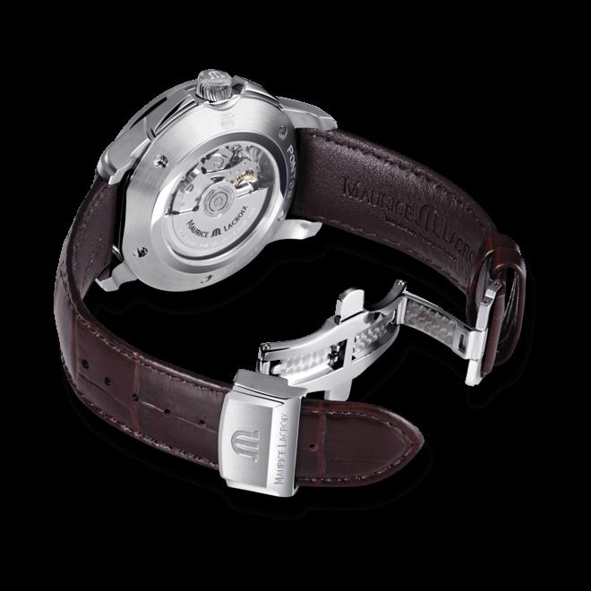 Herrenuhr Maurice Lacroix Pontos Chronographe mit silberfarbenem Zifferblatt und Armband aus Kalbsleder mit Krokodilprägung
