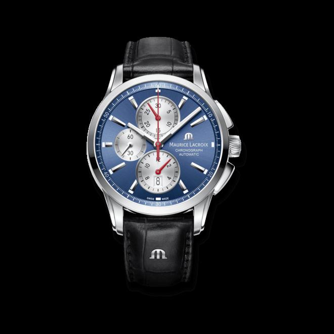 Herrenuhr Maurice Lacroix Pontos Chronographe mit blauem Zifferblatt und Armband aus Kalbsleder mit Krokodilprägung
