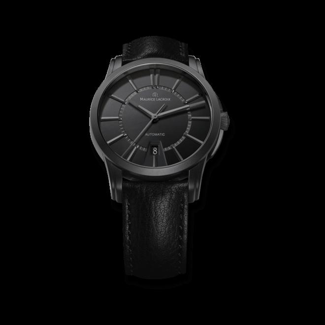 Herrenuhr Maurice Lacroix Pontos Date mit schwarzem Zifferblatt und Kalbsleder-Armband