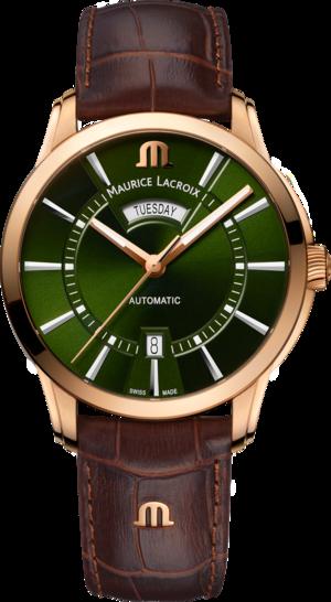 Herrenuhr Maurice Lacroix Pontos Day Date 41mm mit grünem Zifferblatt und Armband aus Kalbsleder mit Krokodilprägung