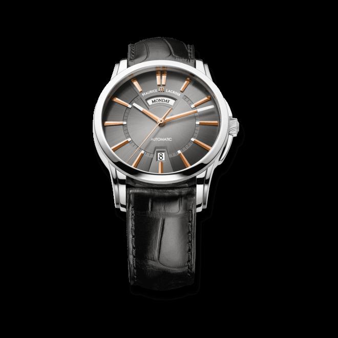 Herrenuhr Maurice Lacroix Pontos Day/Date mit schwarzem Zifferblatt und Krokodilleder-Armband