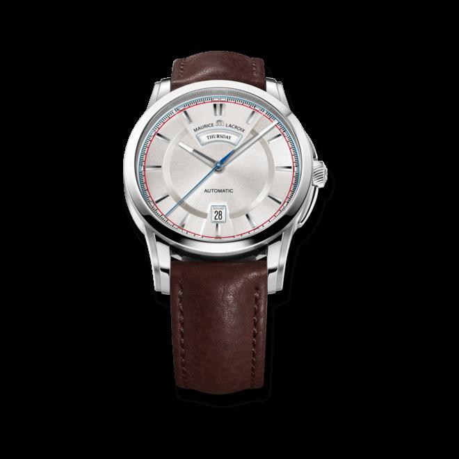 Herrenuhr Maurice Lacroix Pontos Day/Date mit silberfarbenem Zifferblatt und Kalbsleder-Armband