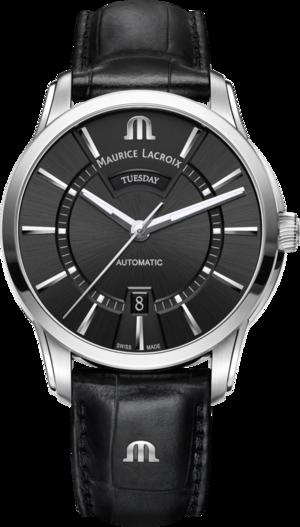 Herrenuhr Maurice Lacroix Pontos Day/Date mit schwarzem Zifferblatt und Armband aus Kalbsleder mit Krokodilprägung