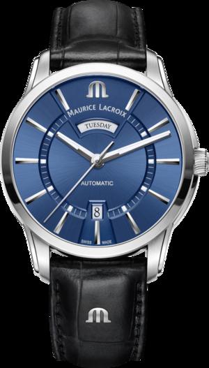 Herrenuhr Maurice Lacroix Pontos Day/Date mit blauem Zifferblatt und Armband aus Kalbsleder mit Krokodilprägung