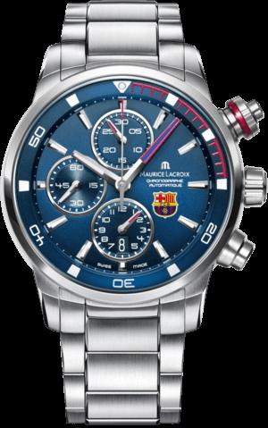 Herrenuhr Maurice Lacroix Pontos S Chronographe FC Barcelona mit blauem Zifferblatt und Edelstahlarmband