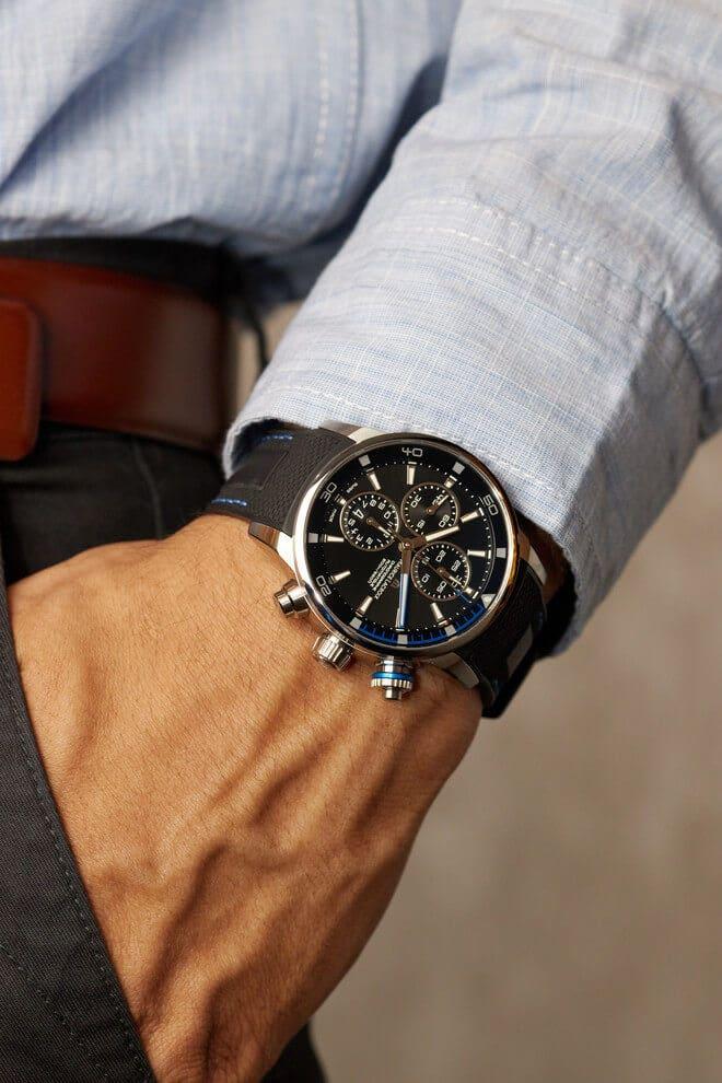 Herrenuhr Maurice Lacroix Pontos S Chronographe mit schwarzem Zifferblatt und Kautschukarmband