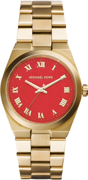 Damenuhr Michael Kors Channing 38mm mit rotem Zifferblatt und Edelstahlarmband
