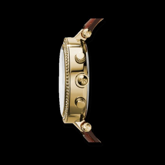 Damenuhr Michael Kors Chronograph Quarz 39mm mit gelbgoldfarbenem Zifferblatt und Rindsleder-Armband