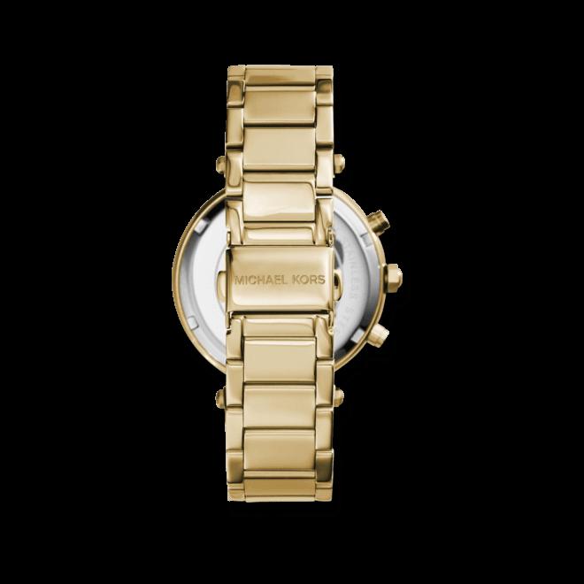 Damenuhr Michael Kors Chronograph Quarz 39mm mit gelbgoldfarbenem Zifferblatt und Edelstahlarmband