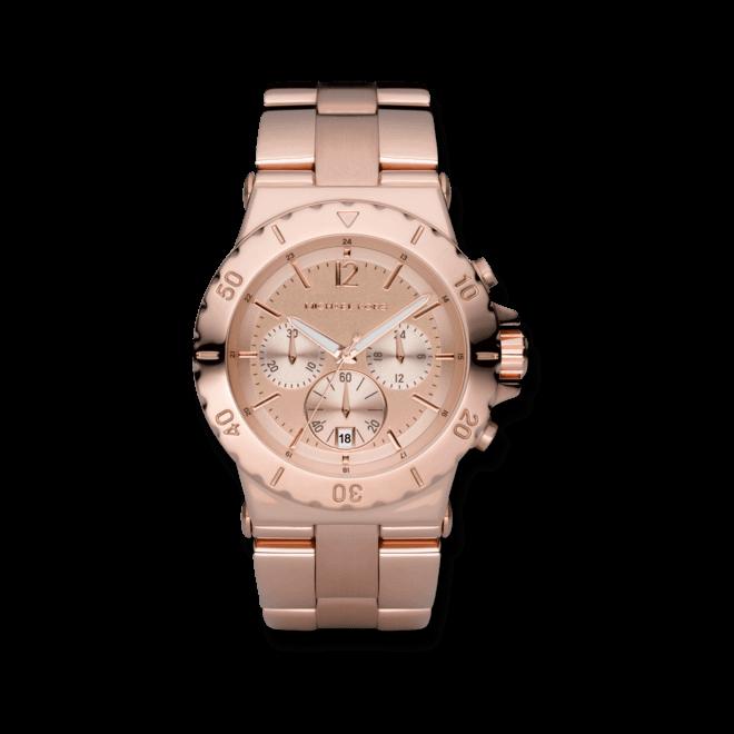 Damenuhr Michael Kors Chronograph Quarz 41mm mit roséfarbenem Zifferblatt und Edelstahlarmband