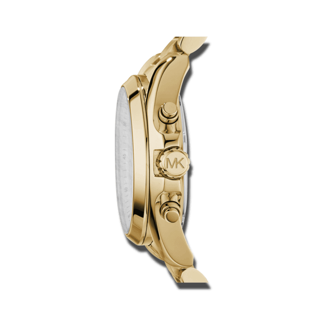 Damenuhr Michael Kors Chronograph Quarz 43mm mit gelbgoldfarbenem Zifferblatt und Edelstahlarmband