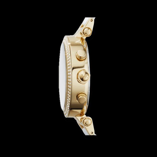 Damenuhr Michael Kors Parker 39mm mit weißem Zifferblatt und Edelstahlarmband