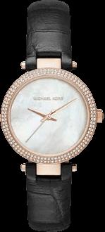 Damenuhr Michael Kors Quarz 33mm mit perlmuttfarbenem Zifferblatt und Kalbsleder-Armband