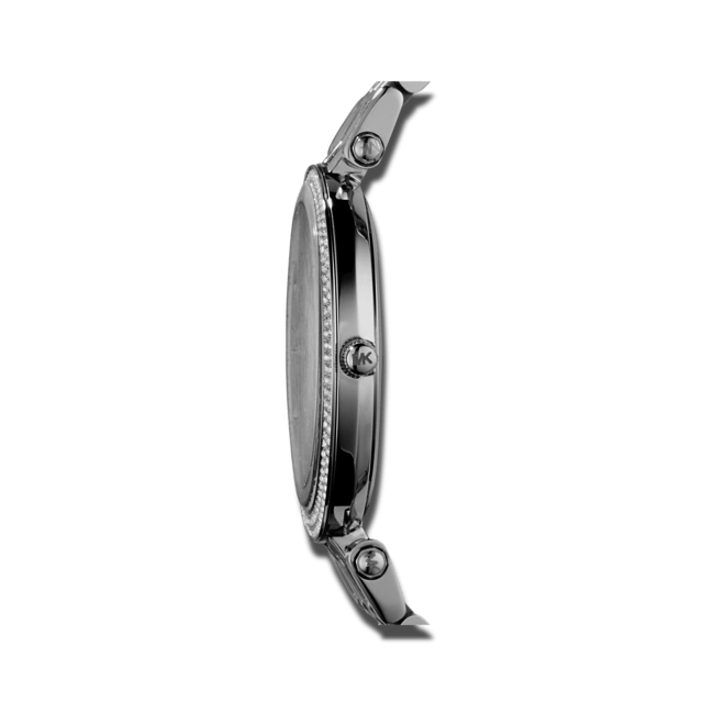 Damenuhr Michael Kors Quarz 39mm mit silberfarbenem Zifferblatt und Edelstahlarmband