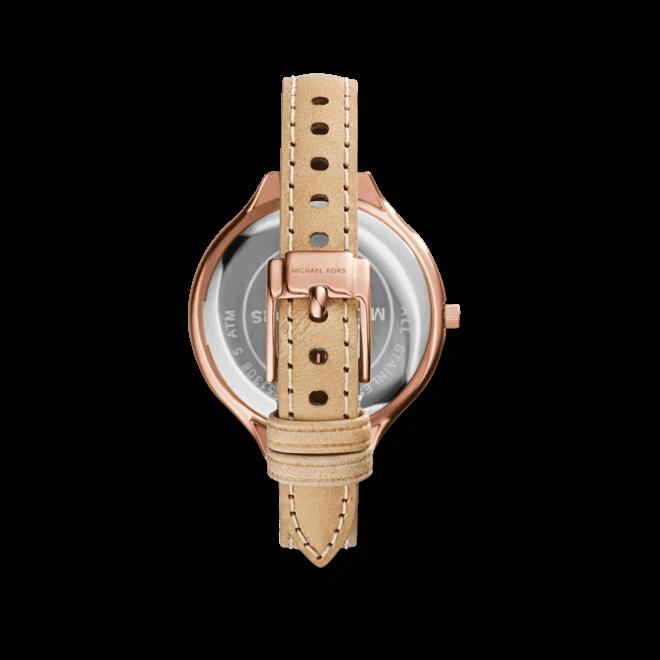 Damenuhr Michael Kors Quarz 42mm mit weißem Zifferblatt und Rindsleder-Armband