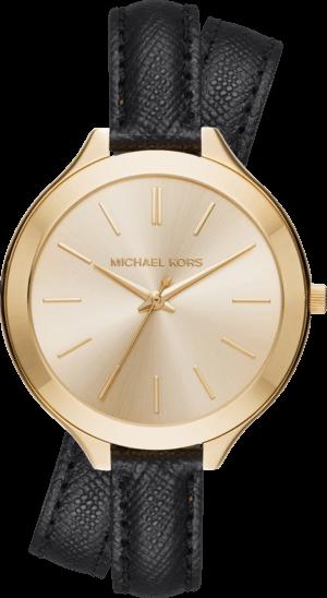 Damenuhr Michael Kors Quarz 42mm mit gelbgoldfarbenem Zifferblatt und Kalbsleder-Armband