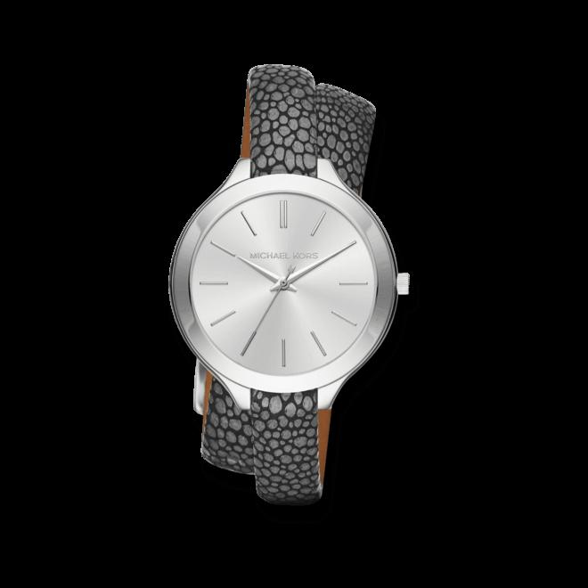 Damenuhr Michael Kors Quarz 42mm mit silberfarbenem Zifferblatt und Kalbsleder-Armband