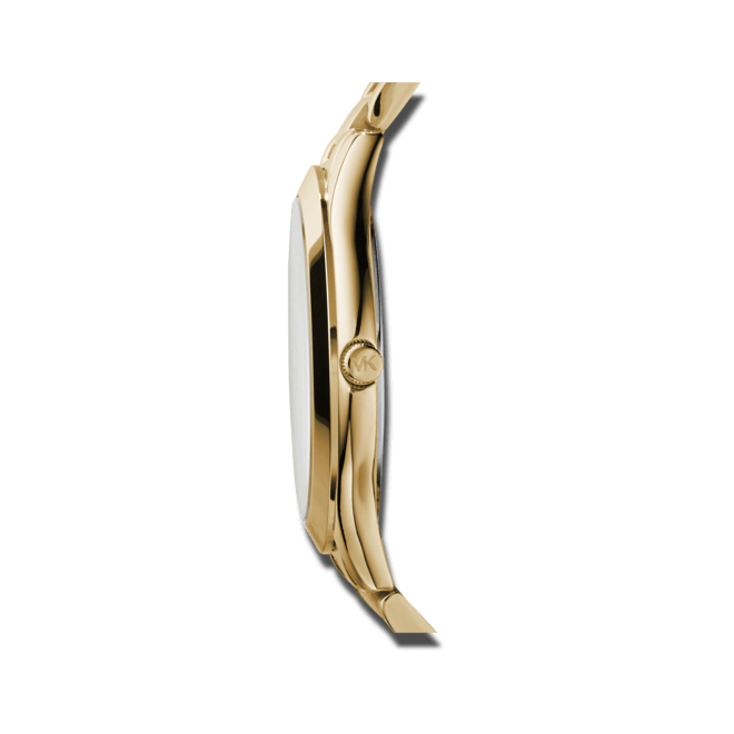 Damenuhr Michael Kors Quarz 42mm mit champagnerfarbenem Zifferblatt und Edelstahlarmband
