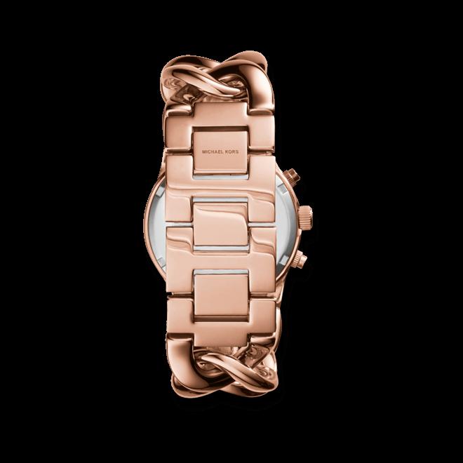 Damenuhr Michael Kors Runway Twist 38mm mit roséfarbenem Zifferblatt und Edelstahlarmband