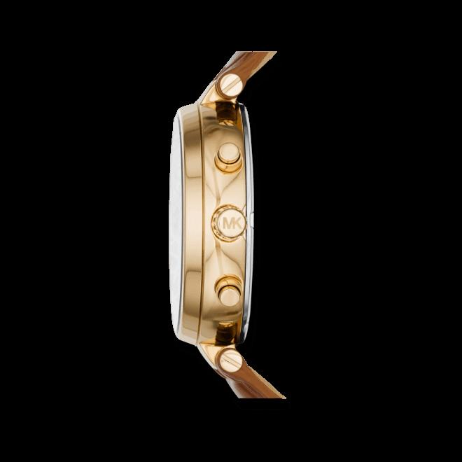 Damenuhr Michael Kors Sawyer 39mm mit braunem Zifferblatt und Armband aus Kalbsleder mit Krokodilprägung