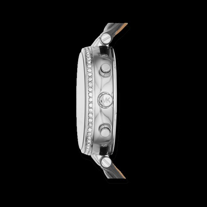 Damenuhr Michael Kors Sawyer 39mm mit grauem Zifferblatt und Armband aus Kalbsleder mit Krokodilprägung
