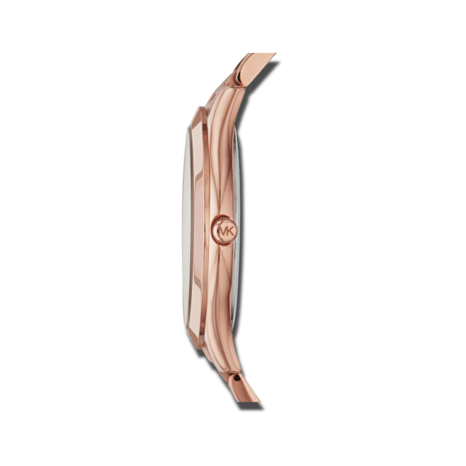 Damenuhr Michael Kors Slim Runway 42mm mit roséfarbenem Zifferblatt und Edelstahlarmband