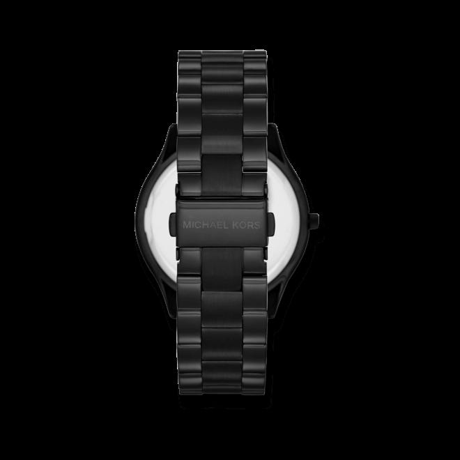 Damenuhr Michael Kors Slim Runway 42mm mit schwarzem Zifferblatt und Edelstahlarmband