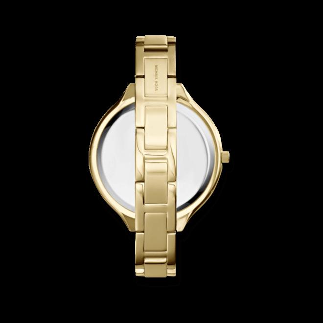 Damenuhr Michael Kors Slim Runway 42mm mit gelbgoldfarbenem Zifferblatt und Edelstahlarmband