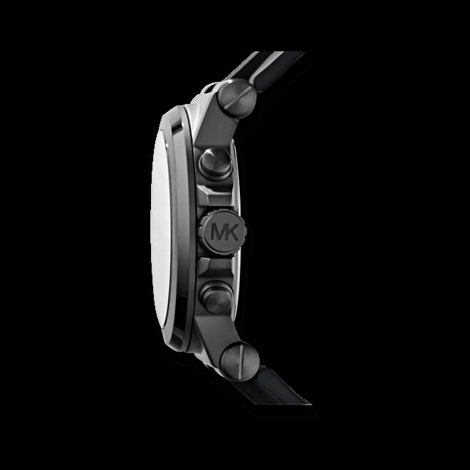 Herrenuhr Michael Kors Chronograph Quarz 47mm mit schwarzem Zifferblatt und Silikonarmband