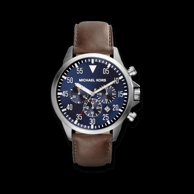 Herrenuhr Michael Kors Quarz Chronograph 45mm mit blauem Zifferblatt und Kalbsleder-Armband