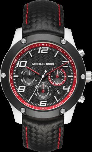 Herrenuhr Michael Kors Quarz Chronograph 45mm mit schwarzem Zifferblatt und Kalbsleder-Armband