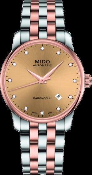 Herrenuhr Mido Baroncelli II Gent mit Diamanten, roségoldfarbenem Zifferblatt und Edelstahlarmband