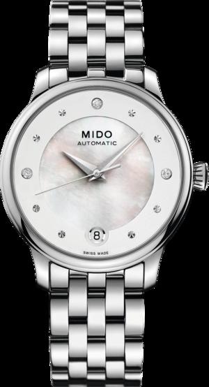 Damenuhr Mido Baroncelli II Lady Diamonds mit Diamanten, weißem Zifferblatt und Edelstahlarmband