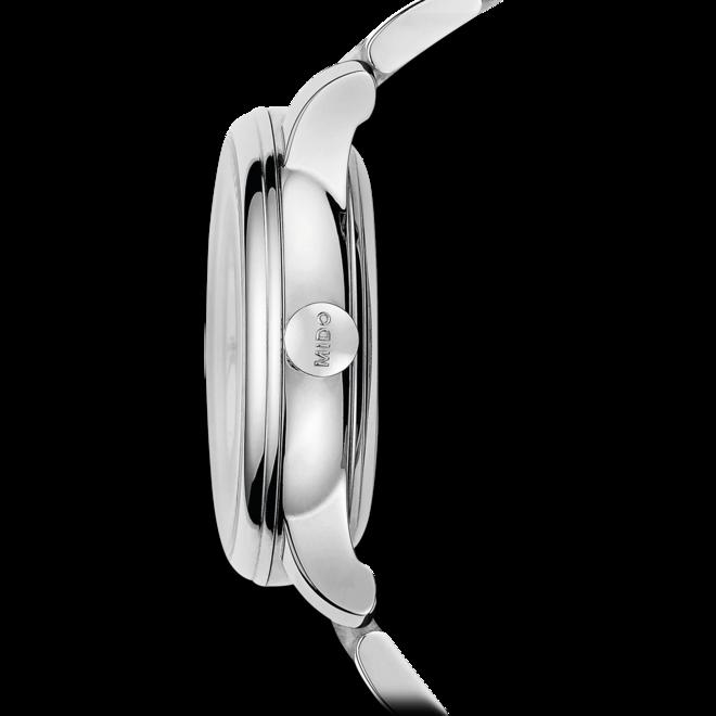 Damenuhr Mido Baroncelli II Lady Diamonds mit Diamanten, weißem Zifferblatt und Edelstahlarmband bei Brogle