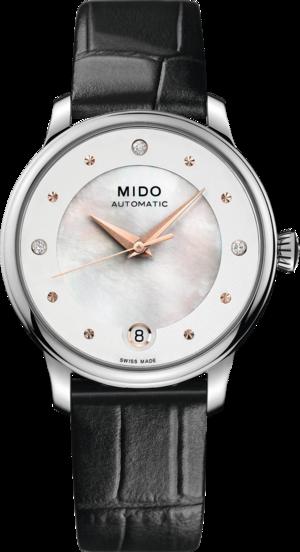 Damenuhr Mido Baroncelli II Lady Diamonds Special Edition mit Diamanten, weißem Zifferblatt und Armband aus Kalbsleder mit Krokodilprägung