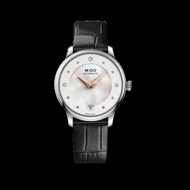 Damenuhr Mido Baroncelli II Lady Diamonds Special Edition mit Diamanten, weißem Zifferblatt und Armband aus Kalbsleder mit Krokodilprägung bei Brogle