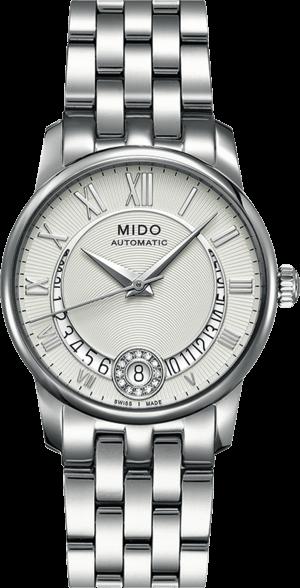 Damenuhr Mido Baroncelli II Lady M007 mit Diamanten, silberfarbenem Zifferblatt und Edelstahlarmband