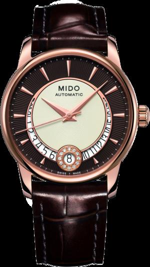 Damenuhr Mido Baroncelli II Lady M007 mit Diamanten, braunem Zifferblatt und Armband aus Kalbsleder mit Krokodilprägung