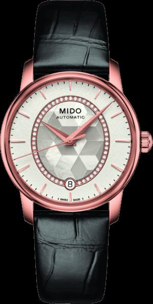 Damenuhr Mido Baroncelli II Prisma mit Diamanten, perlmuttfarbenem Zifferblatt und Armband aus Kalbsleder mit Krokodilprägung