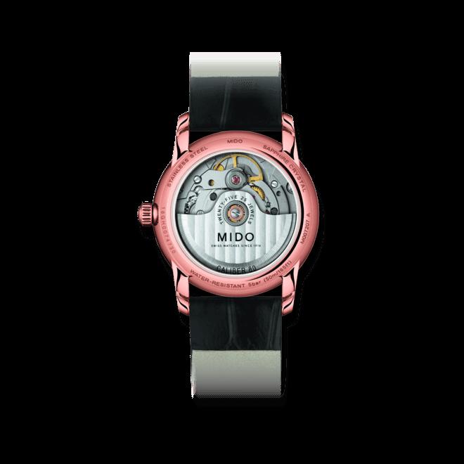 Damenuhr Mido Baroncelli II Prisma mit Diamanten, perlmuttfarbenem Zifferblatt und Armband aus Kalbsleder mit Krokodilprägung bei Brogle