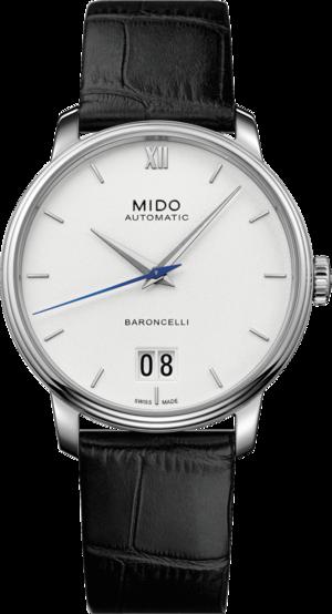 Herrenuhr Mido Baroncelli III Big Date mit weißem Zifferblatt und Armband aus Kalbsleder mit Krokodilprägung