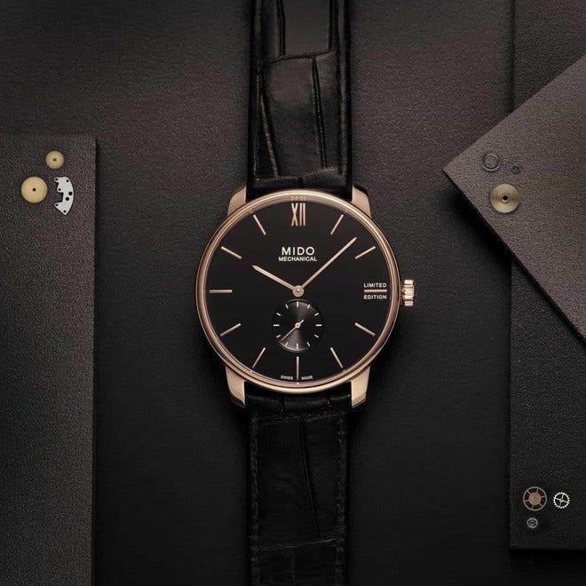 Damenuhr Mido Baroncelli Mechanical 39mm Limited Edition mit schwarzem Zifferblatt und Armband aus Kalbsleder mit Krokodilprägung bei Brogle